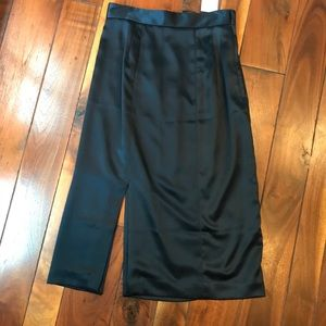 Navy H&M Silky Pencil Midi Skirt